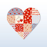 Valentine's Day Card. Red hearts different patterns. Heart shape on a light background. Blue, beige, pink cell with different repeats hearts Stock Images