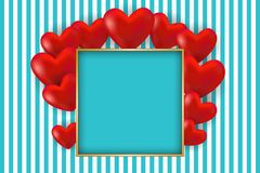 Valentine`s day card. Red hearts and golden frame with space for text. Vector illustration EPS10 for Valentines Day card, poster of flyer Royalty Free Stock Photos