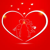 Valentine's Day card. Red Valentine's day card with kissing couple inside Royalty Free Stock Photos