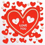 Valentine's Day card, red paper hearts on light background with pearls Royalty Free Stock Image