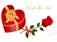 Valentine`s day card. Red rose and gift box Royalty Free Stock Photography