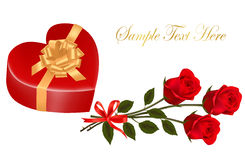 Valentine`s day card. Red roses and gift box Stock Photography