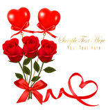 Valentine`s day card. Red roses and gift red bow. Royalty Free Stock Photos