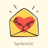 Valentine`s day card in retro style. Hand-drawn envelope with heart and lettering. Stock Photos