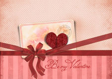 Valentine's Day card with ribbon and heart. Be my Valentine Royalty Free Stock Image