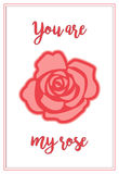 A Valentine`s day card with rose and greeting Stock Photos