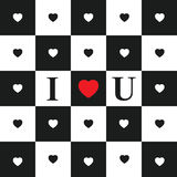 Valentine's Day card. Seamless Pattern with Black and White Hearts on black and white classic Chessboard. Red heart and abbreviation I love you. Valentine's Day royalty free illustration