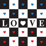 Valentine's Day card. Seamless Pattern with Blue and Red Hearts on black and white classic Chessboard. Red heart and text love royalty free illustration