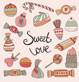Valentine's Day card with set of doodle candy. Vector illustration Stock Photo