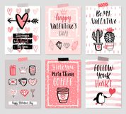 Valentine`s Day card set - hand drawn style with calligraphy. Vector illustration Royalty Free Stock Photo