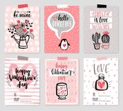 Valentine`s Day card set - hand drawn style with calligraphy. Stock Image