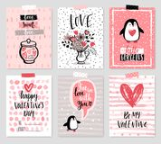 Valentine`s Day card set - hand drawn style with calligraphy. Vector illustration Royalty Free Stock Image
