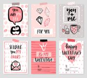 Valentine`s Day card set - hand drawn style with calligraphy. Royalty Free Stock Photography