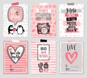 Valentine`s Day card set - hand drawn style with calligraphy. Stock Photos