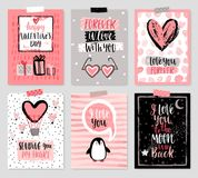 Valentine`s Day card set - hand drawn style with calligraphy. Stock Images