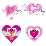Valentine's Day Card set with hearts. Royalty Free Stock Photography