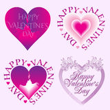 Valentine's Day Card set with hearts. Stock Photos
