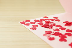 Valentine's  day card with small hearts Stock Photo