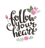 Valentine's  Day Card with stylish Love lettering Follow your heart. Stock Photography