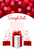 Valentine's Day card with surprise gift box and bokeh background Stock Photography