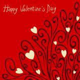 Valentine`s Day Card With Swirls and Hearts Stock Photography