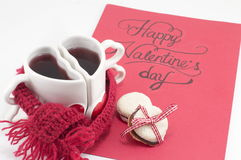 Valentine's day card with tea and cookies Stock Images