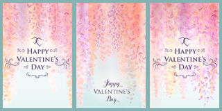 Valentine`s Day card template with gentle flowers of blooming wisteria, floral background. Vector illustration. Eps10 Royalty Free Stock Image