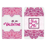 Valentine's day card template. Lacy romantic indian style invita Royalty Free Stock Image