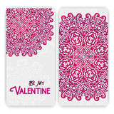 Valentine's day card template. Lacy romantic indian style invita Royalty Free Stock Photos