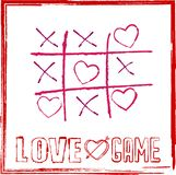 Valentine`s day card tic tac toe game with hearts for game of love concept Royalty Free Stock Images