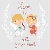 Valentine`s day card with two cupids Royalty Free Stock Photo