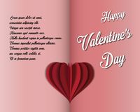 Valentine`s day card. Two halves. Two colors. Paper heart inside. stock illustration