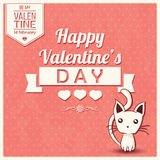 Valentines day card with typographic message and a kitten, vect Stock Photo