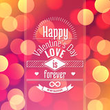 Valentine's day card on vector abstract background with blurred defocused colorful bokeh lights Royalty Free Stock Images