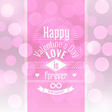 Valentine's day card vector abstract background with blurred defocused pink bokeh lights Royalty Free Stock Images