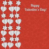 Valentine's Day card with white garlands of hearts and flowers. Stock Photography