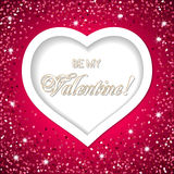 Valentine's day card. With white heart. Be my Valentine text message.  Vector illustration Royalty Free Stock Photography