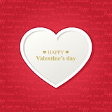 Valentine's day card with white heart Royalty Free Stock Photography
