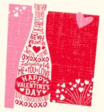 Valentine`s Day card with wine bottle, hearts, and handwritten love phrases Royalty Free Stock Images