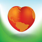 Valentine S Day Card With Heart Shaped Globe Royalty Free Stock Photography