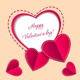 Valentine S Day Card With Paper Hearts Royalty Free Stock Photography