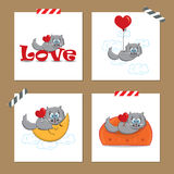 Valentine's day cards with cat. Cute Valentine's day cards with funny cat Vector Illustration