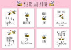 Valentine`s day cards with cute bee, vector set. Valentine`s day cards with cute bee and quotes, set of vector design elements stock illustration