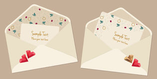 Valentine's Day Cards With Envelopes. Vector set of two cute Valentine's Day cards with a pattern and hearts Stock Illustration