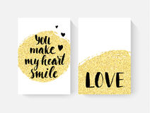 Valentine`s day cards with hand lettring and gold glitter details. Royalty Free Stock Photography