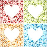 4 Valentine`s Day Cards - Heart Shape Background Set. 4 Valentine`s Day Cards - Red, Green, Blue and Orange Heart Shape Background Set - EPS 10 Vector vector illustration
