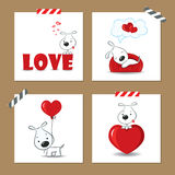 Valentine's day cards with puppy. Cute Valentine's day cards with funny puppy and hearts Stock Image