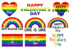 Valentine`s day cards, rainbow flag, lgbt pride, vector set stock photo