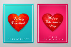 Valentine`s Day cards with text braille. Vector illustration. Valentine`s Day cards with text braille on pink, blue background. Polygonal, geometric, rumpled Royalty Free Stock Photography