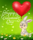 Valentine`s day with Cartoon bunny holding red heart balloons. Illustration of Valentine`s day with Cartoon bunny holding red heart balloons Royalty Free Stock Images